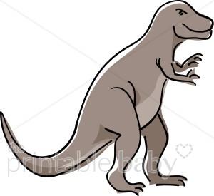 Smiling tyrannosaurus rex reptile. Dinosaur clipart gray