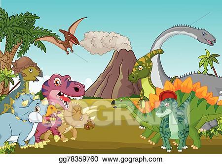 Dinosaurs clipart group. Vector stock cartoon of