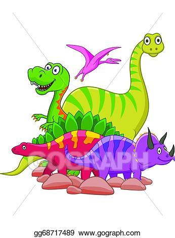 Eps vector cartoon stock. Clipart dinosaur group