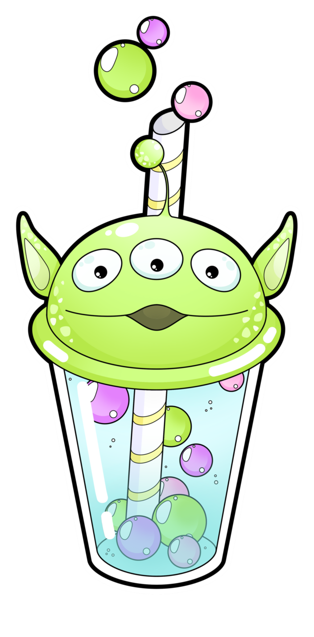 Crayons clipart kawaii. Alien bubble tea commissions