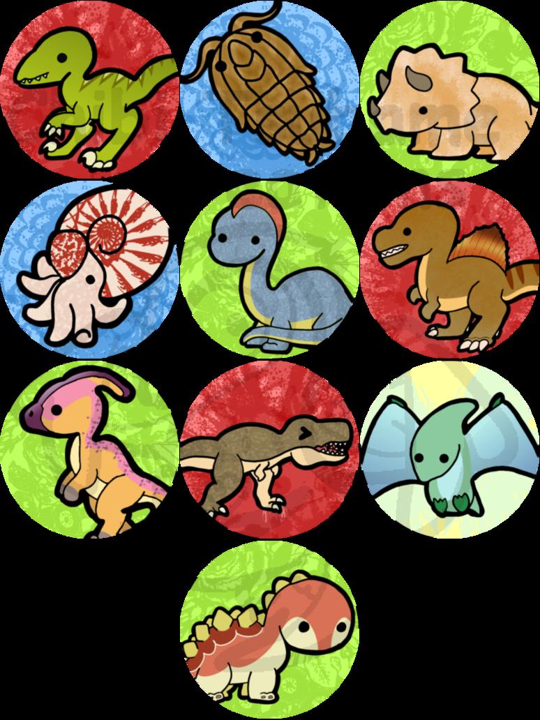 Clipart dinosaur kawaii. Dino buttons by izit