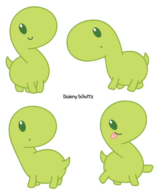 Kawaii clipart dinosaur. Green dino by daieny