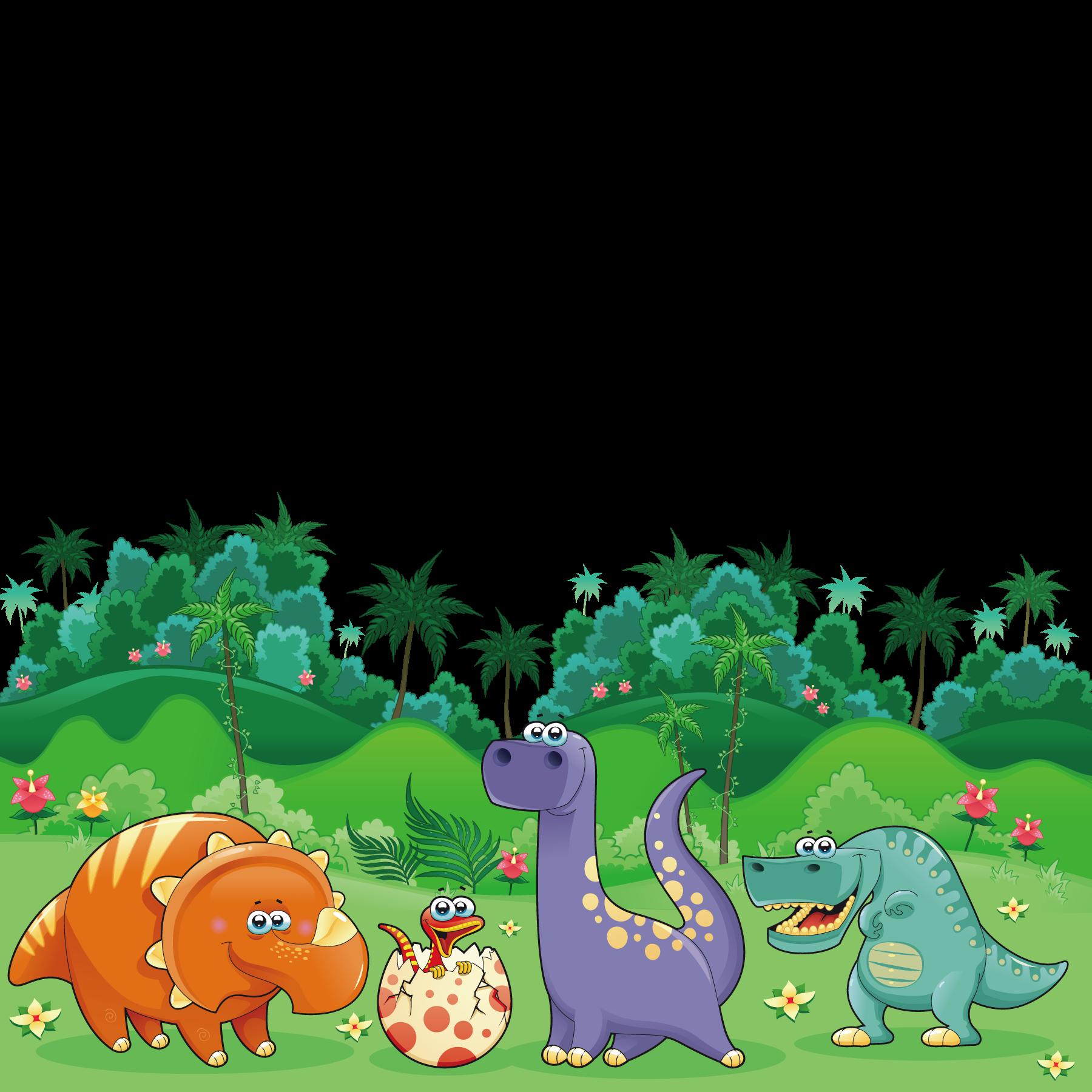 Triceratops cartoon illustration dinosaurs. Planting clipart dinosaur