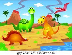 Dinosaur clipart scene. Dinosaurs clip art royalty