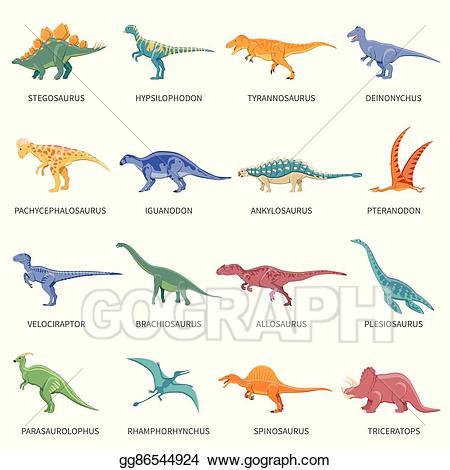 Eps illustration dinosaurs colored. Dinosaur clipart name