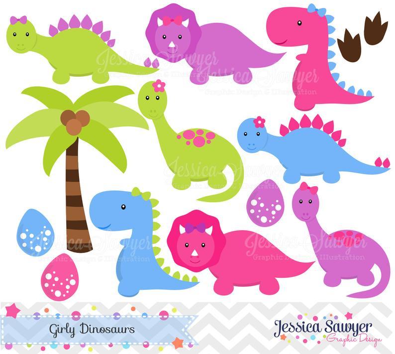Instant download girls dinosaurs. Clipart dinosaur number