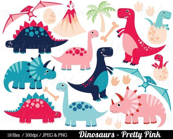 Clipart dinosaur number. Pink dinosaurs clip art