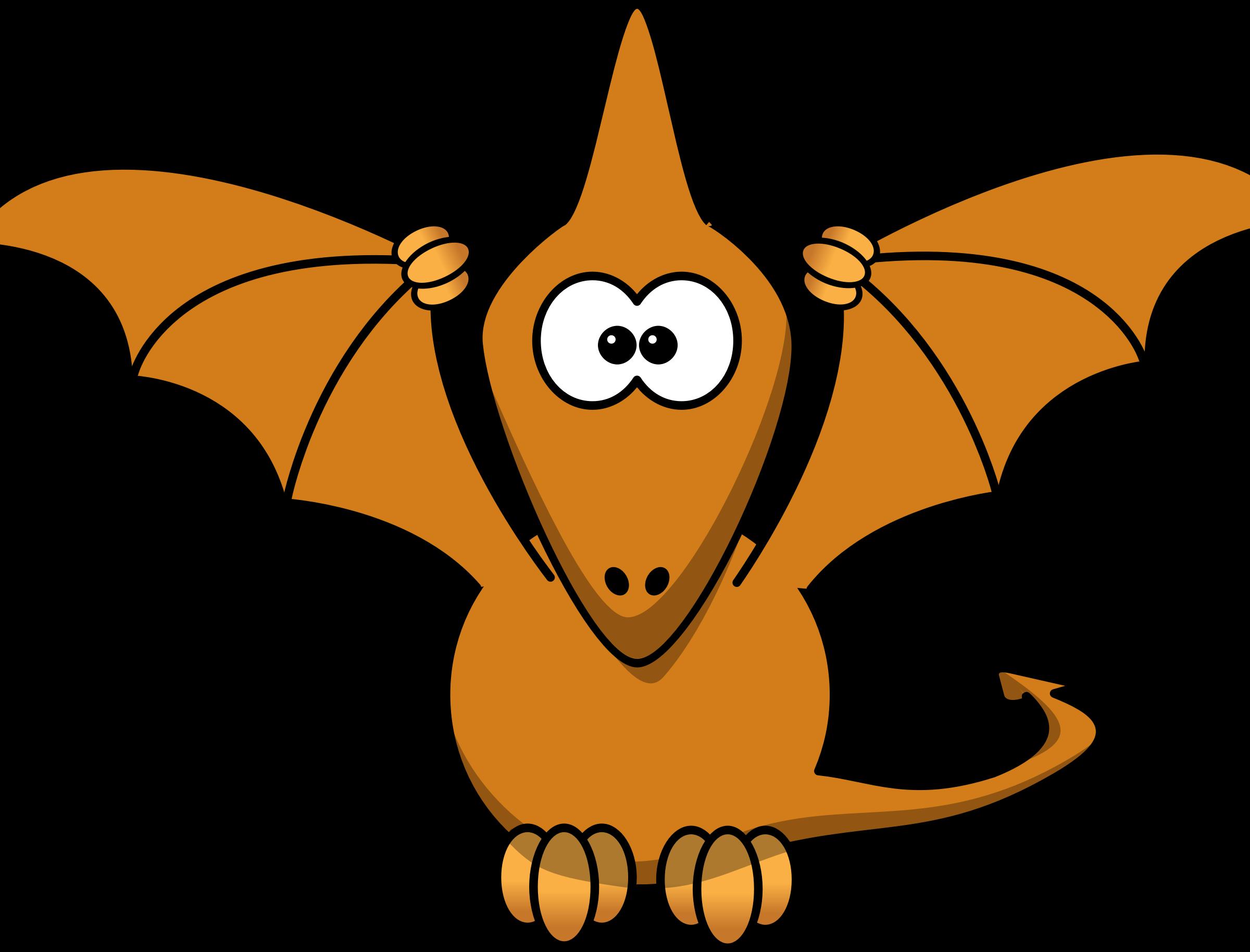 Cartoon pterodactyl with upraised. Dinosaur clipart scene