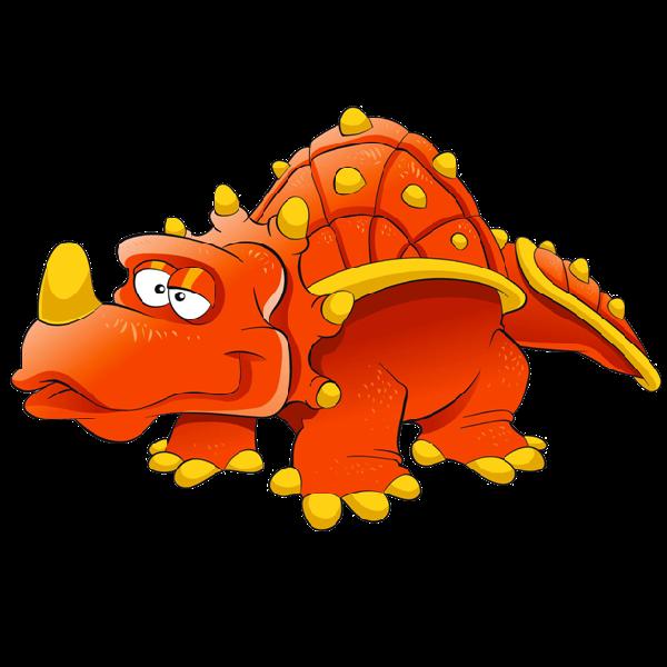 Orange clipart triceratops. Dinosaur cute cartoon animal