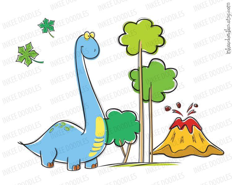 Dinosaur clipart tree. Cute brachiosaurus trees clouds