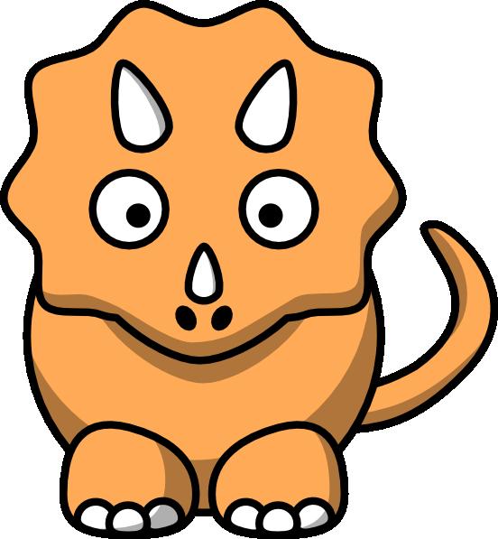 Dinosaur clipart triceratop. Orange triceratops clip art