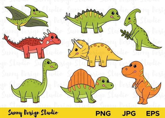 Cute dinosaurs cartoon set. Clipart dinosaur vector
