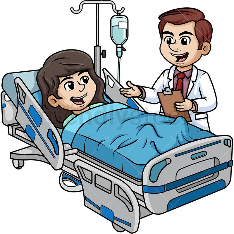 Hospitalized woman talking to. Doctors clipart bed