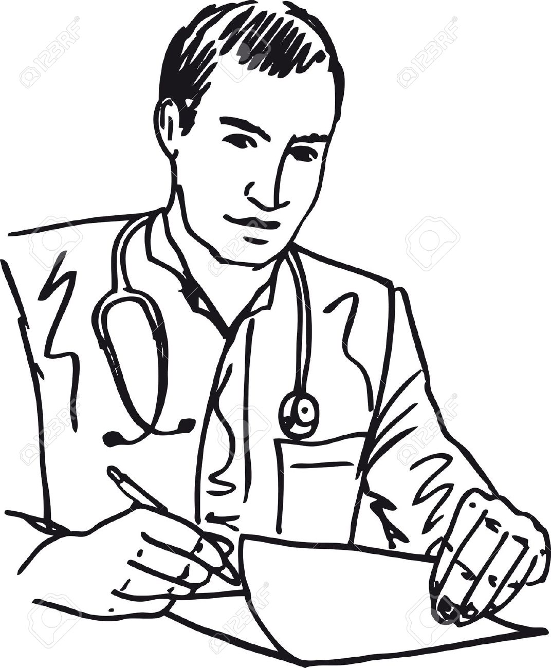 Clipart doctor black and white. Free download best