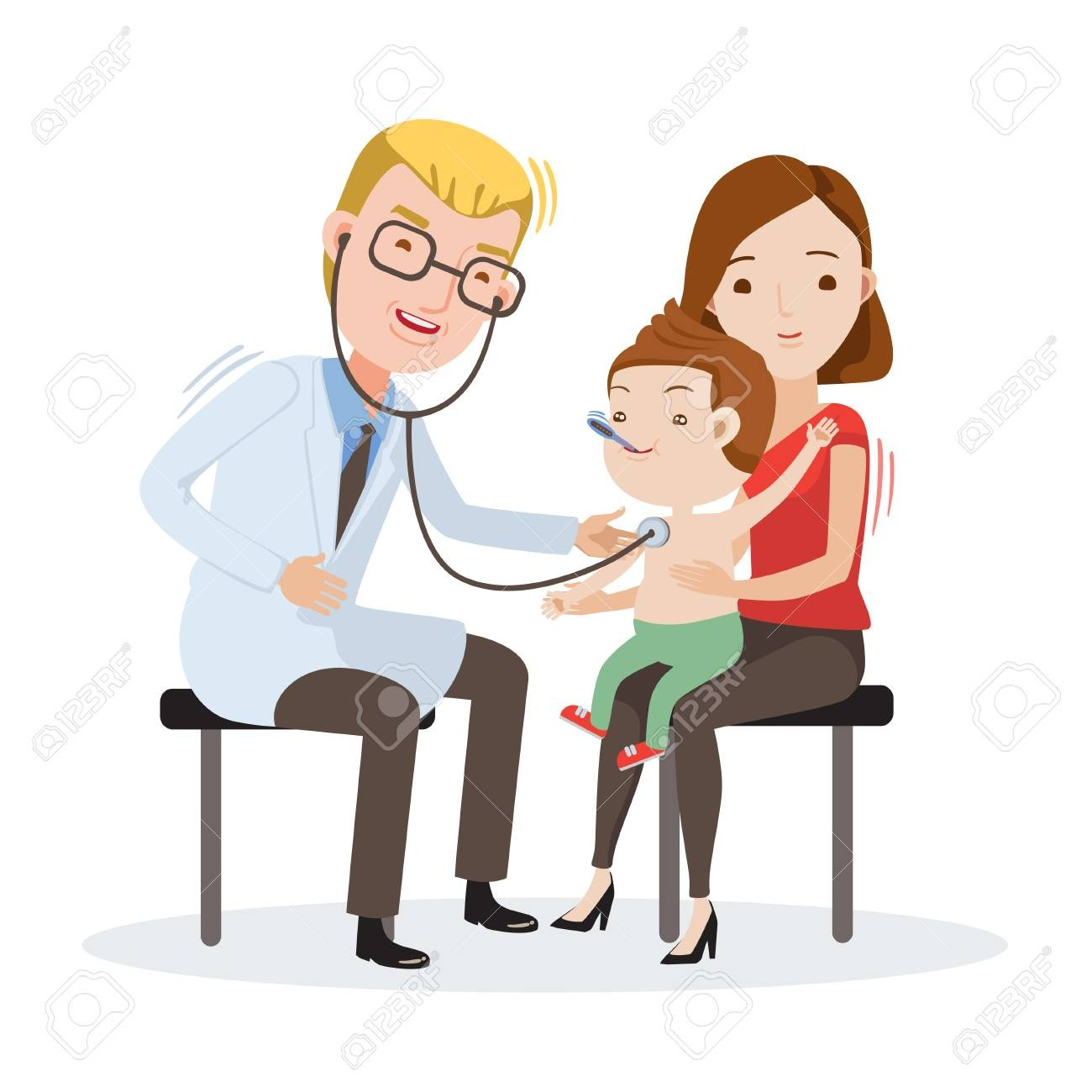 With temperature doctor examining. Doctors clipart body