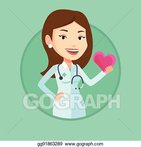 Clipart doctor cardiologist. Vector art holding heart