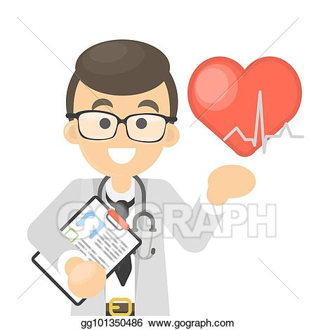 Vector art isolated smiling. Clipart doctor cardiologist