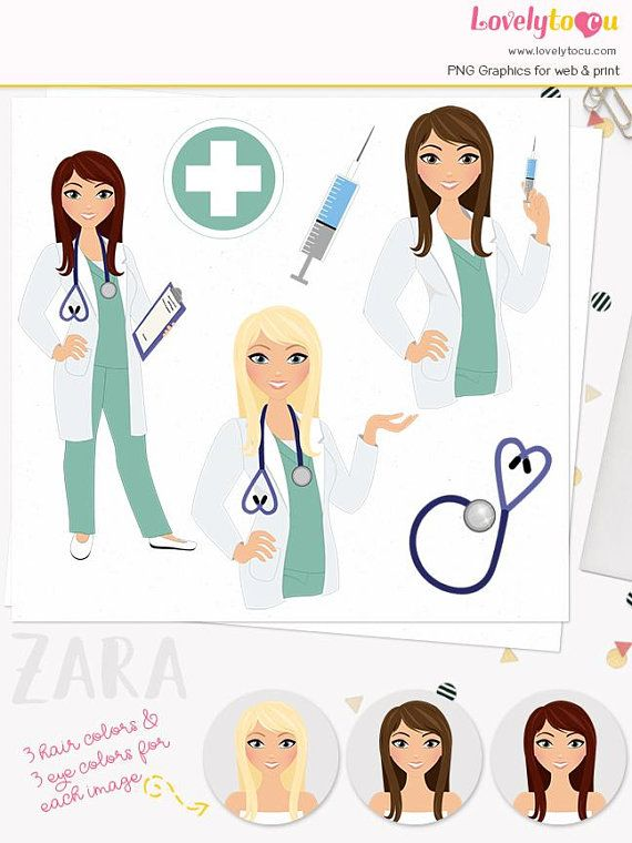 Nurse clipart artwork. Woman doctor character healthcare