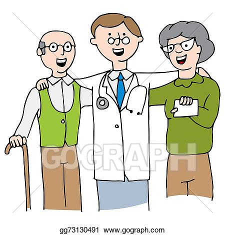 Eps vector with elderly. Doctor clipart couple
