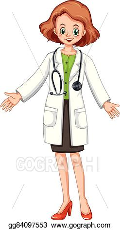 Doctor clipart gown. Vector stock female in