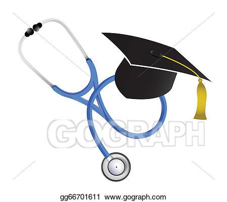 Graduation clipart medical. Vector art stethoscope illustration