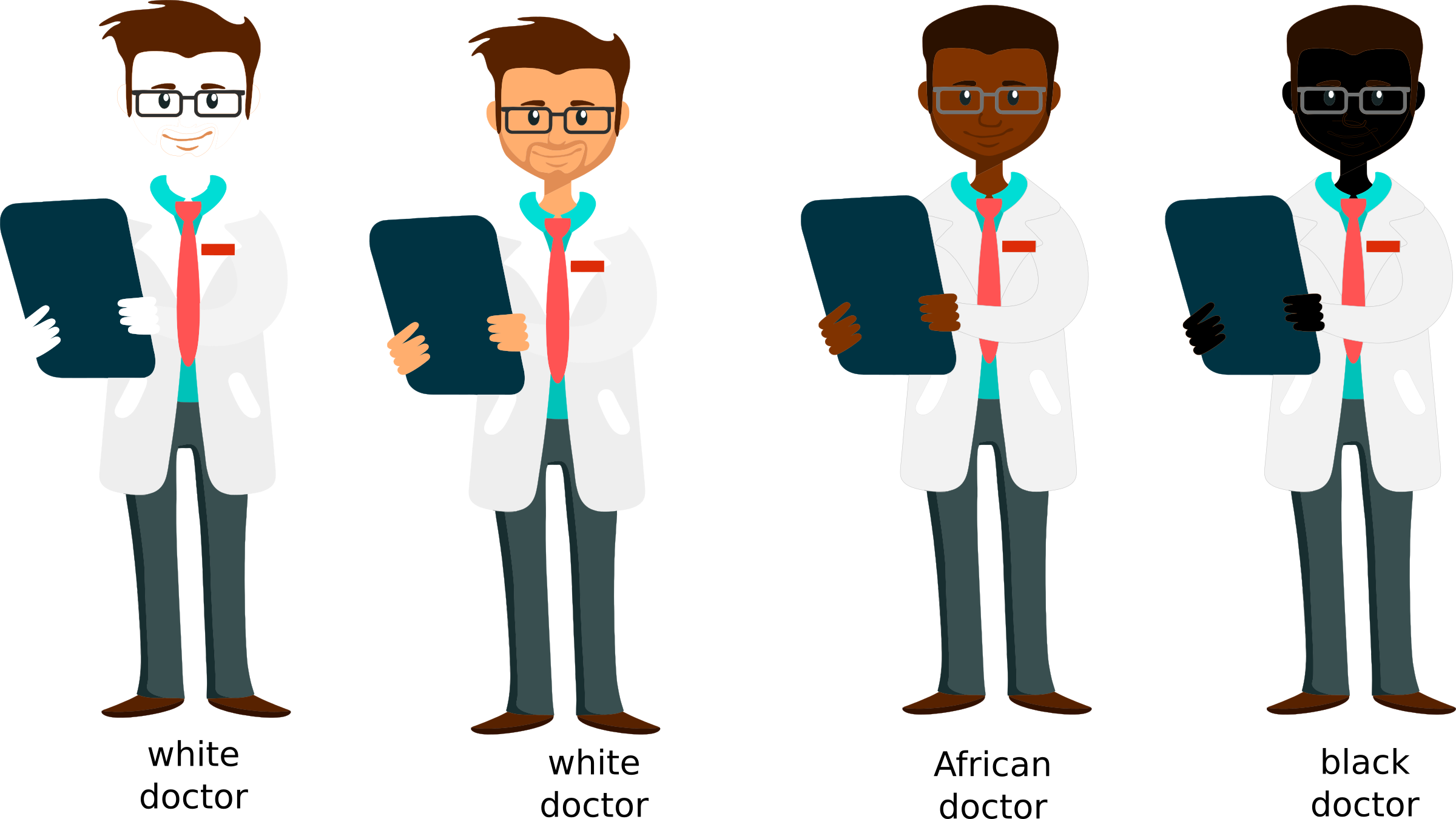 Doctor clipart black and white. Caucasian african doctors icons