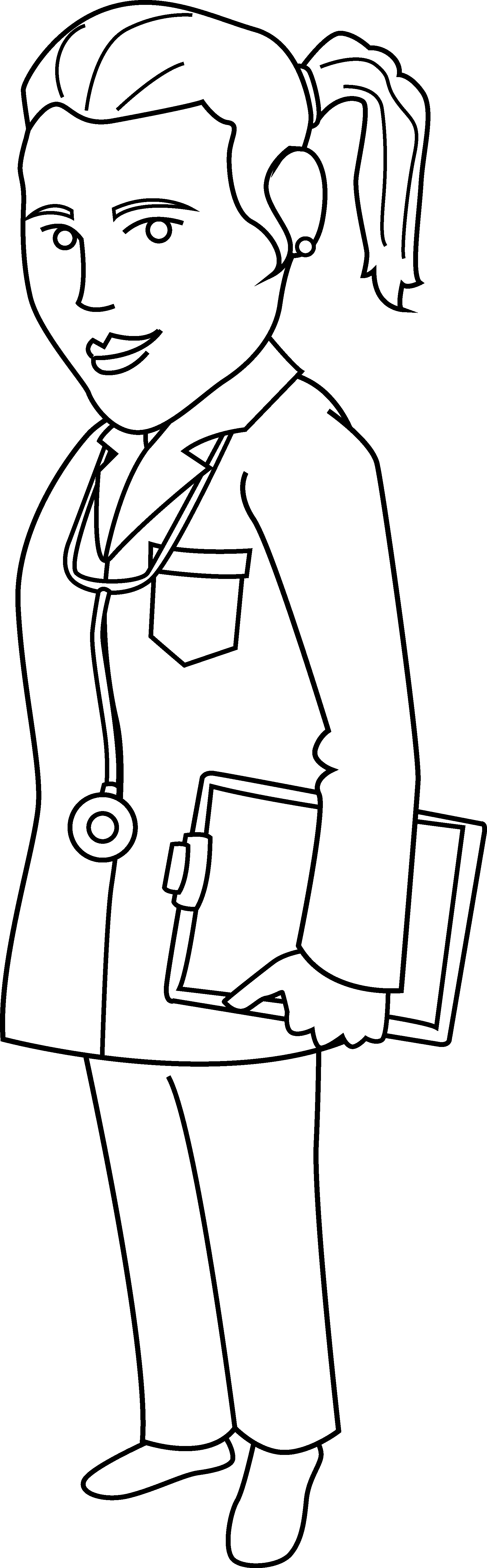 Coloring page free clip. Clipart doctor lady doctor
