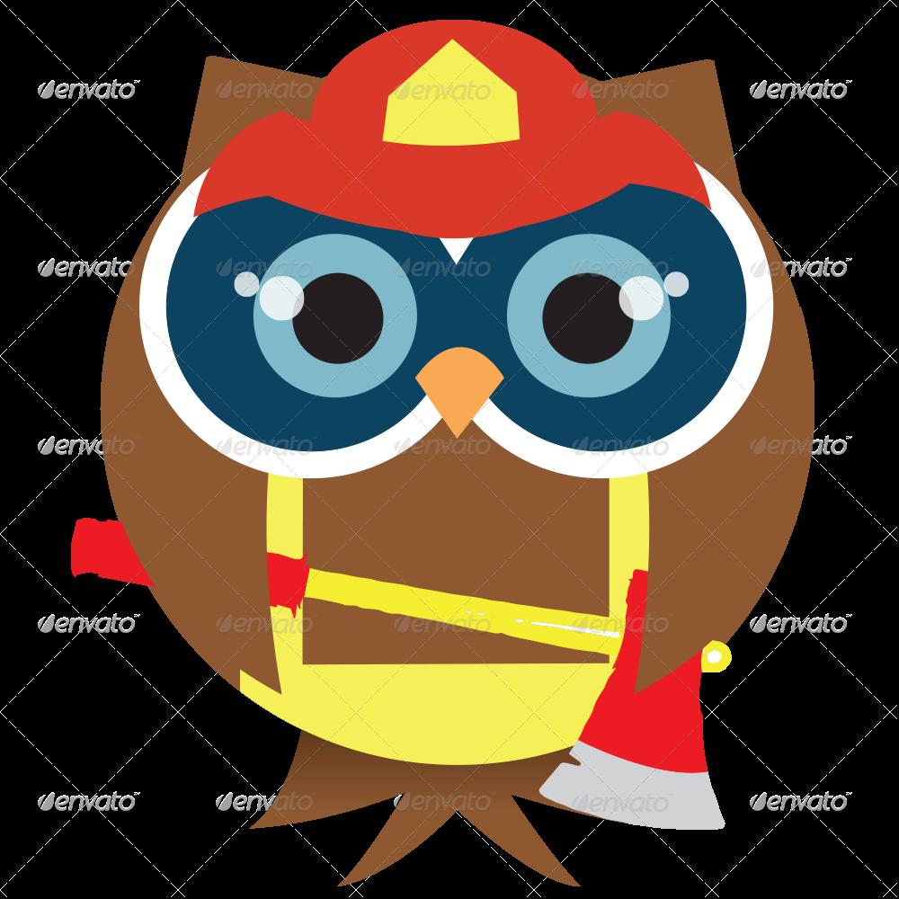 firefighter clipart owl