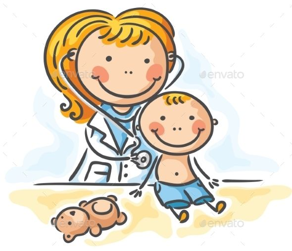 Little boy is being. Clipart doctor pediatrician