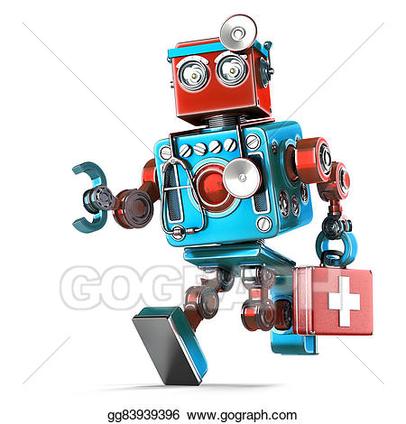 Doctor clipart robot. Stock illustration running with