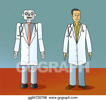 Clipart doctor robot. Eps vector and human