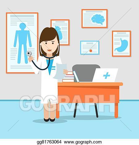 Vector art medical doctor. Hospital clipart table