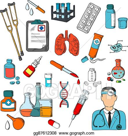Clipart doctor treatment. Vector illustration medical tools