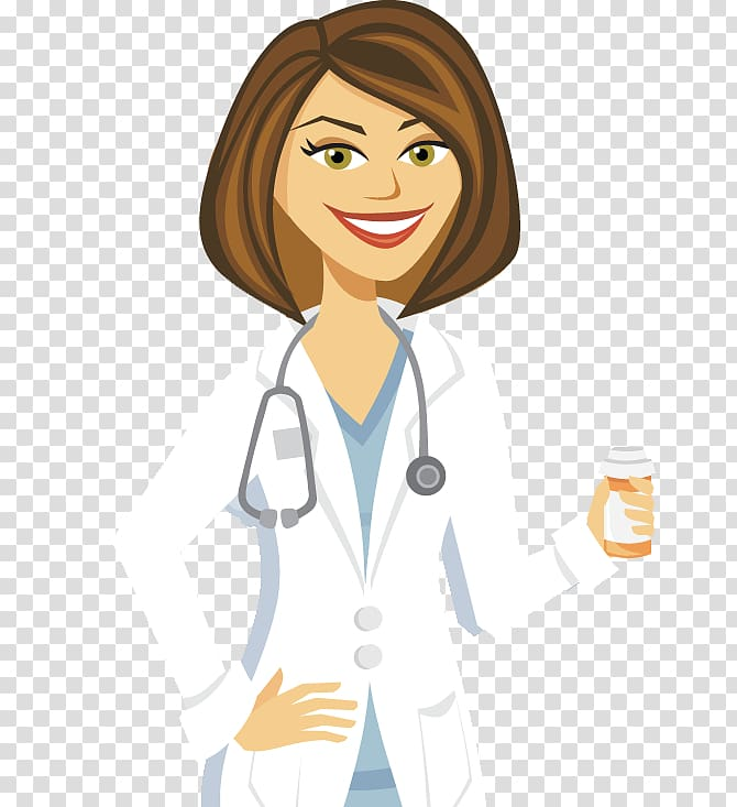 Cartoon physician female doctors. Doctor clipart woman doctor