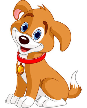 Brown and white smiling. Clipart dog