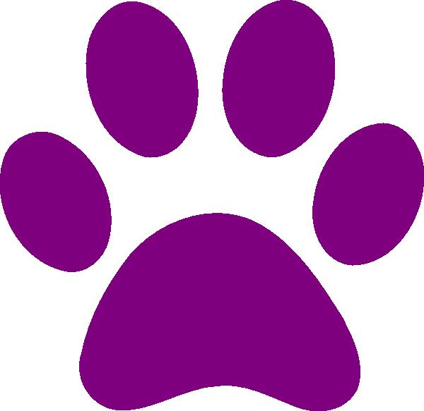 Paw clipart lobo. Purple clip art print