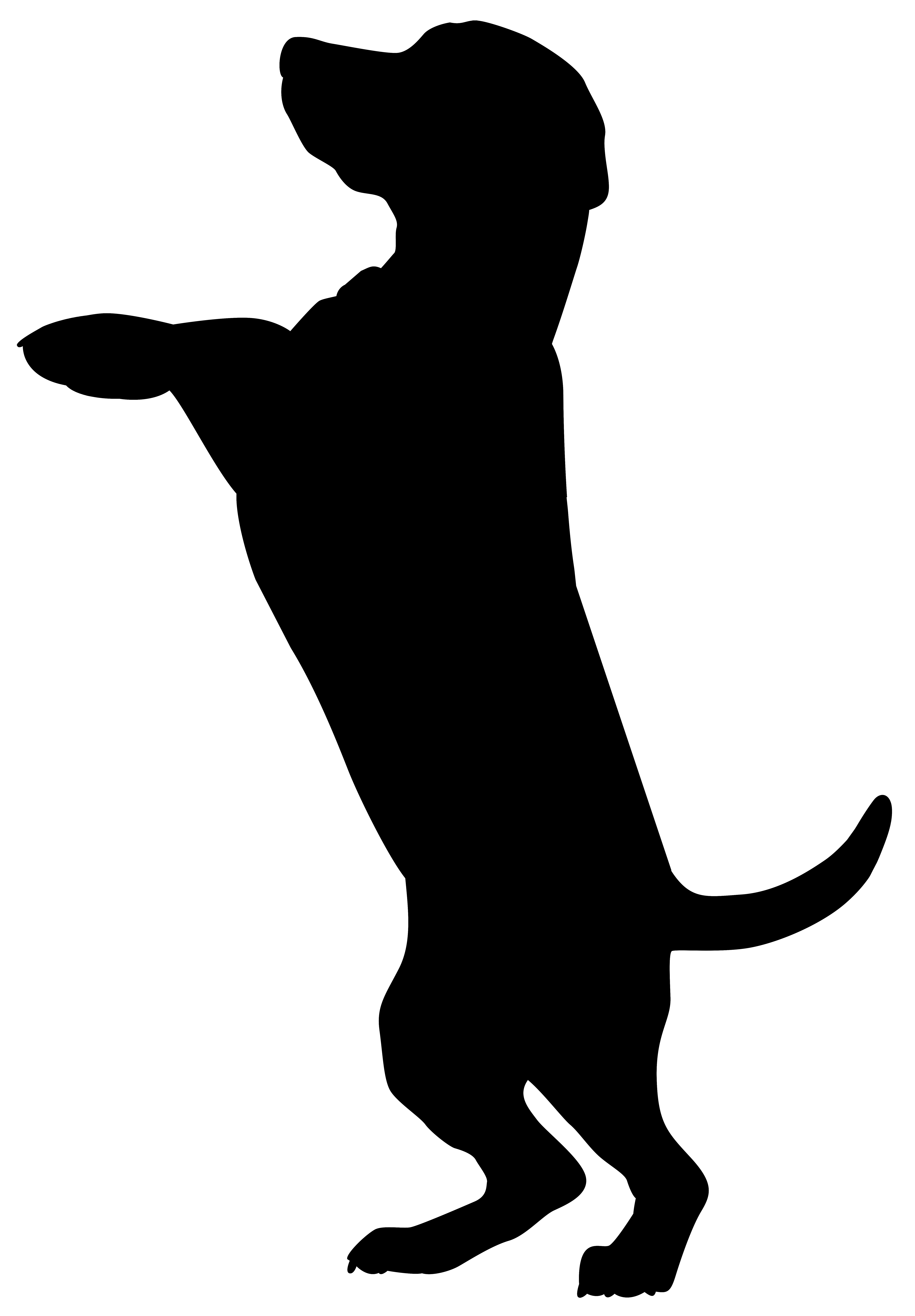 Boxer dobermann cat pet. Paw clipart silhouette dog