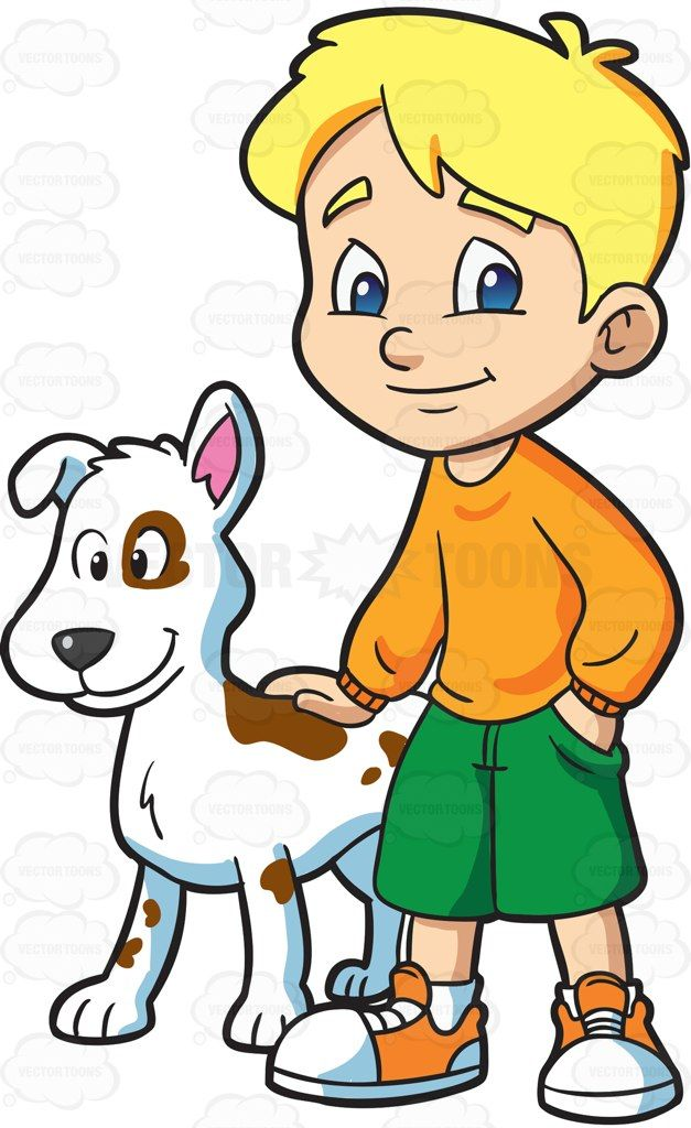 Pet clipart dog human. A boy with his
