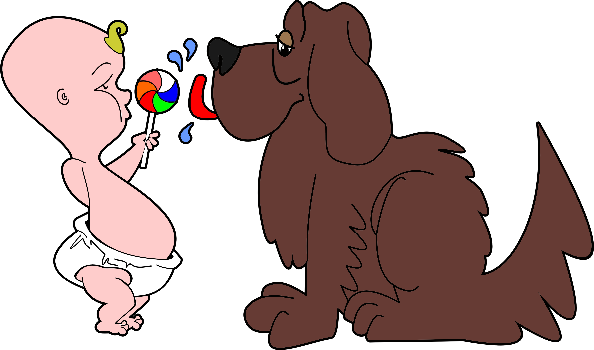 Lollipop clipart small. Dog licking babys big