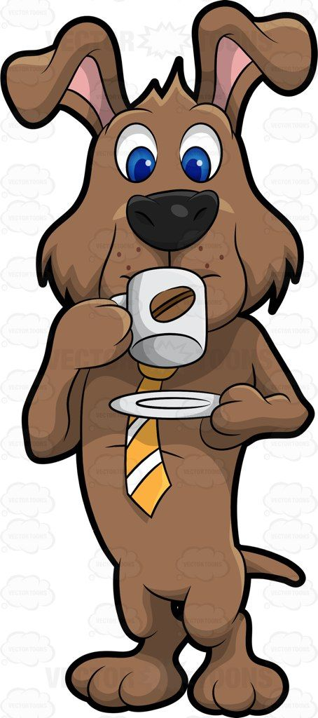 Dexter the drinking cartoon. Clipart dog coffee