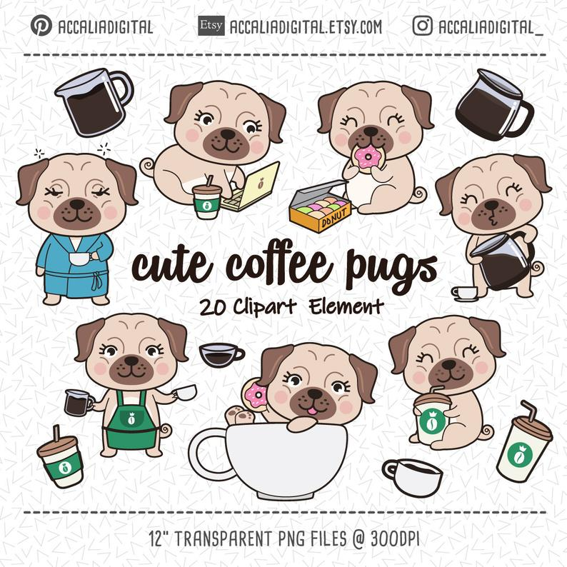 Cute pugs dogs sticker. Clipart dog coffee