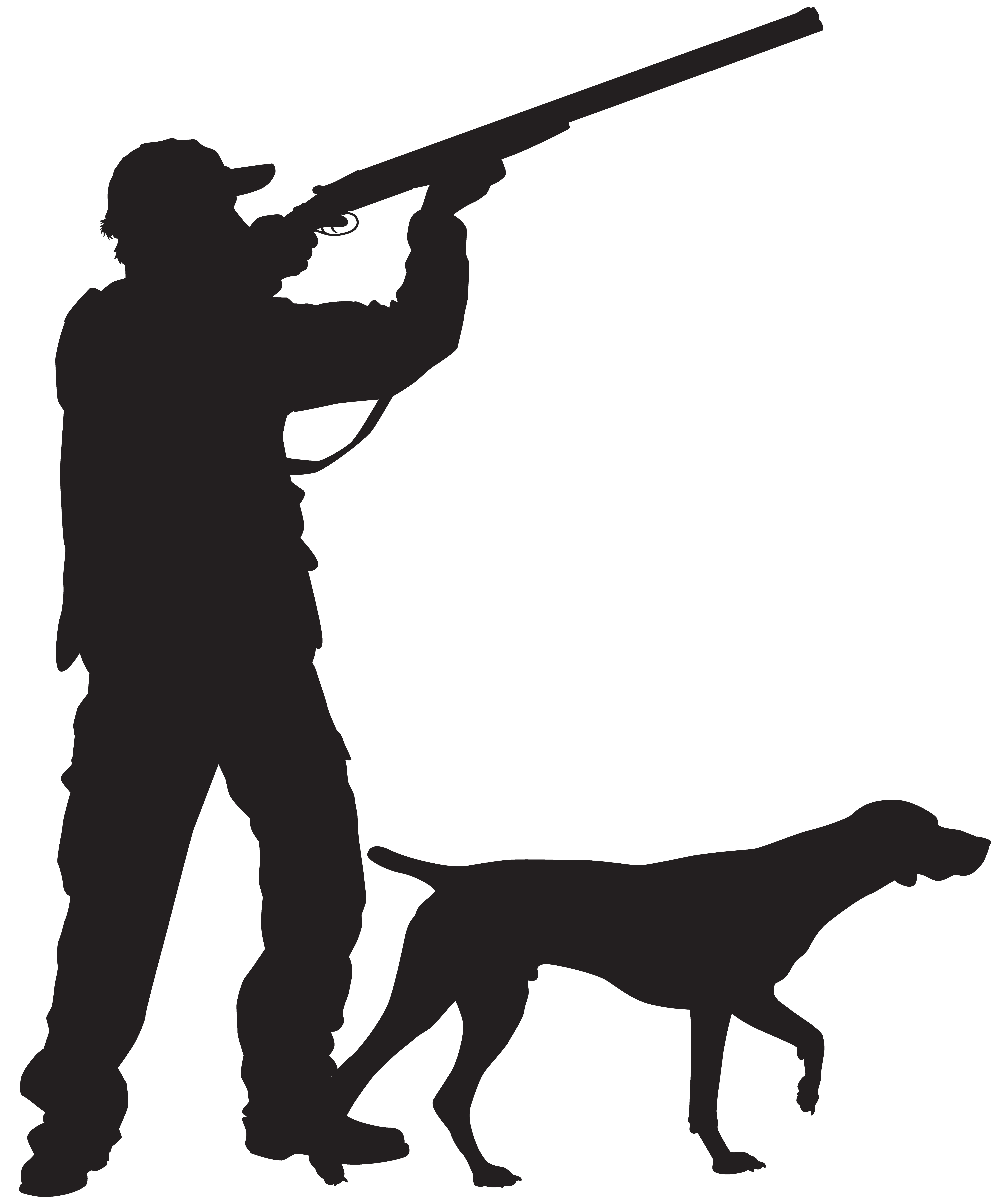 Hunting clipart mountain animal. Hunter with dog silhouette