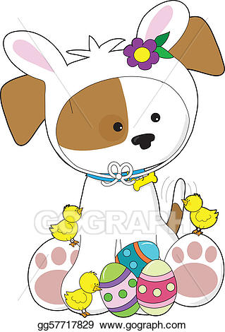 Stock illustration cute puppy. Easter clipart dog