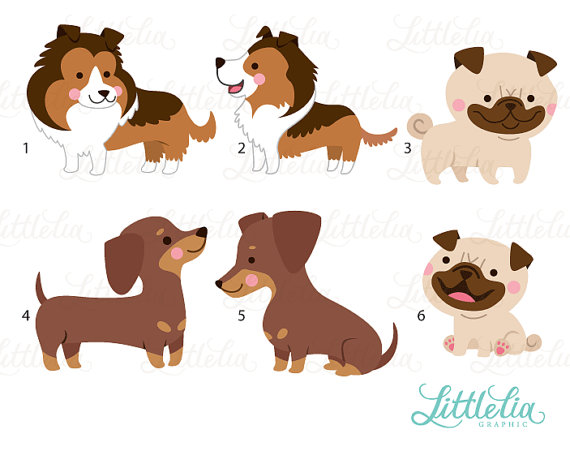 Dog clipart family. Mom and puppy