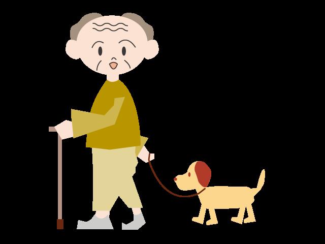 Clipart family walking. Dog grandpa using a