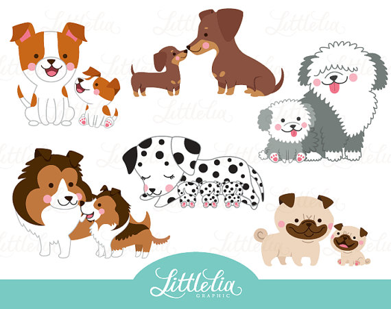 Mom and puppy . Dog clipart family