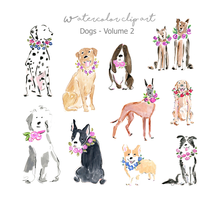 Art watercolor clip breeds. Dog clipart fashion