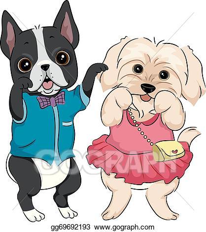 Dog clipart fashion. Vector stock show illustration