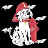 Firefighter clipart dalmatian. Fire dog in window