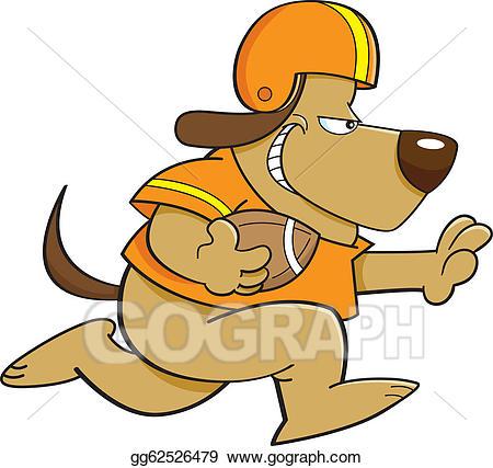Vector art cartoon eps. Clipart dog football